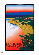 NORTHUMBERLAND BAMBURGH POSTER VINTAGE RETRO  RAILWAY TRAVEL ADVERTISING ART