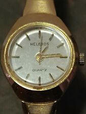 Vintage Ladies Helbros Y-481 Gold Tone Stainless Steel Wrist Watch
