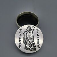 Collect tibet Silver copper Confucius kong zi Brush cartridge ink case round box