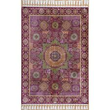 3.5x5.2ft Purple Handmade Silk Rug Flooring Hand Knotted Pure Silk Carpets C03A