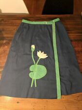 Vtg Sanibel Sport Navy Cotton Blend Lily flower applique wrap skirt Sz S/M