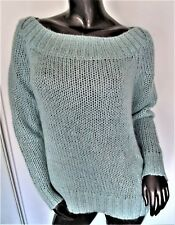 NWT-JUICY COUTURE AZURE MIST MINT MOHAIR METALLIC LOOSE KNIT BOAT NECK SWEATER M