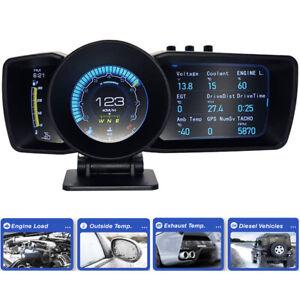 Smart OBD2+GPS Gauge HUD Auto Meter Gauge Intake Air & Water Temp Oil Pressure