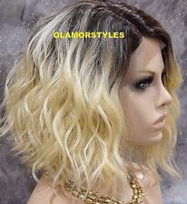 "17"" Bob Wavy Layered Blonde Brown Mix Full Lace Front Wig Heat Ok Hair Piece"