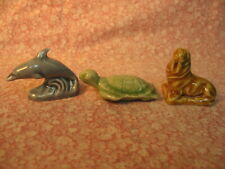 3 Wade 1990 Sealife Figurines- Dolphin, Turtle, & Walrus, Mint