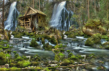 Framed Print - Scenic Wood and Stone Water Mill (Picture Poster Waterfall River)