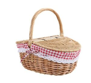 HAMPER WICKER BASKET, PICNIC HOLDER NEW, WITH LID AND HANDLE