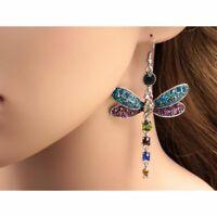 Gorgeous Dragonfly Crystal Rhinestone Earrings Silver Plated Ear Hook Dangle NEW