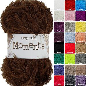 King Cole Moments DK 50g Eyelash Knitting Wool / Yarn. Complete Range In Stock
