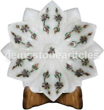 """5""""x5"""" Marble White Fruit Storage Bowl Inlay Pauashell Floral Art Christmas Gifts"""