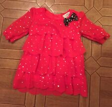 Satin Flowers Girl's Red Sparkly Layered Top 3/4 Sleeve Size: 12 Months