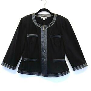 $680 St John Sport Black Stretch Knit Vegan Leather Trim Gold Zip Jacket sz12