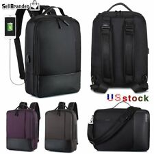"Mens Business 15.6""Laptop Waterproof Backpack Travel Bags USB Charging Notebook"