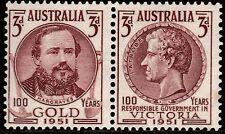1951 CENTENARY OF GOLD & RESPONSIBLE GOVERNMENT PRE-DECIMAL STAMP SET -FRESH MUH