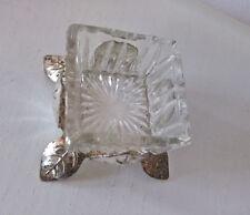 Saliere klein eckig Salzgefäß Glas Salznapf Vintage versilbert 50er 60er