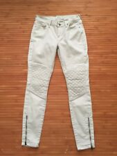 Lucky Brand Cream Moto Style Brooke Skinny Zipper Ankle Quilted Knees Jeans 2/26