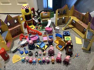 huge peppa pig toy figure bundle spcaeship tree house playsets weebles train car