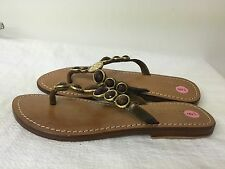 MYSTIQUE brown  Jeweled leather Flip Flops Thong Sandals size 9 M
