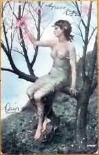 1906 Nude/Topless/Risque Postcard: Woman w/Translucent Dress in a Tree