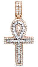 "Mens Diamond Egyptian Ankh Cross Pendant 10k 2 Tone Rose Gold Charm 2"" 2.6ct"