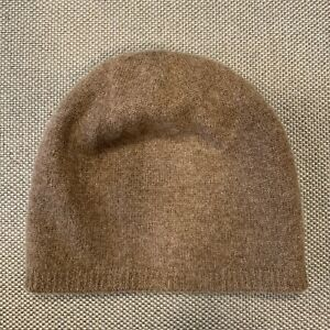 Echo 100% cashmere Double Layers Knit Brown Beanie Hat