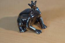 Frosch Froschkönig metallic silber anthrazit Deko Skulptur Figur