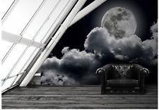 Papel Pintado Mural luna llena - Blanco y Negro Decoración De Pared Grande -