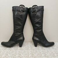 ECCO Hope Women Black Leather Knee High Tall Buckle Strap Boots EUR 40/US 9-9.5