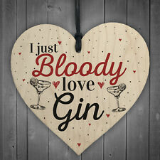 Bloody Love Gin & Tonic Wood Heart Plaque Funny Alcohol Sign Pub Party Gift