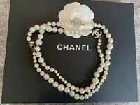 AUTHENTIC Classic Chanel Gold CC Pearl Necklace Long HARRODS