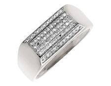10K White Gold Multi-Rows Round Cut Genuine Diamond Wedding Band Ring 0.24ct.