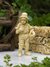 Miniature Dollhouse FAIRY GARDEN Accessories ~ Tan Country Farm Boy Statue NEW