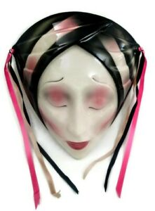 Vtg Clay Art Ceramic Wall Face Mask Tropical Turban Women Exotic Art Deco Ribbon