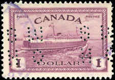 1946 VF Used Canada $1.00 Perforated 4-Hole Scott #O273 Peace Issue Stamp