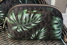 Michael Kors Large Travel Pouch Brown+ Olive Green MSPR $98+ tax