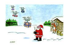 Telegraph Matt Santa's Drones Humorous Xmas Single Christmas Card