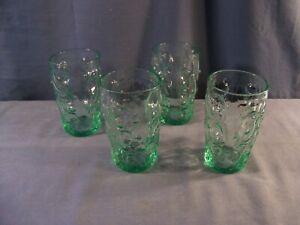 "Set of 4 Bryce Green Glass El Rancho Tumblers 4 5/8"" Tall"