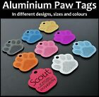 Aluminium PAW Pet ID Tag With Personalised Engraving, Dog, Cat, Collar Tags!