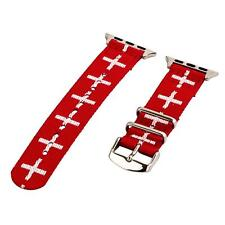 Cross Red/White - 2 Piece Classic SS Nylon Watch Band for 38mm Apple Watch