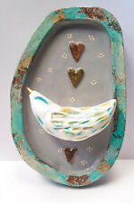 Handmade bird sculpture, wall art, bird plaque, wall plaque, recycled paper, art