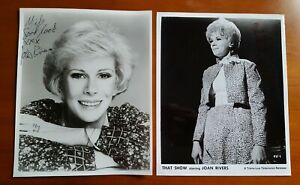 2 hand signed Joan Rivers BW 8x10 photos autographed That Show deceased vintage