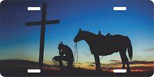 Christian Cowboy Praying Cross Horse Sunset Western License Plate Car Truck Tag
