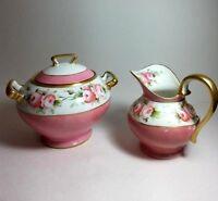 T&V FRANCE LIMOGES Vintage Hand Painted ROSES CREAMER SUGAR BOWL ARTIST SIGNED