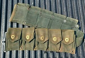 Late WWII Dyed OD7 M1 Garand Riflemans Ammo Belt w/ Wire Pulls Parade Use
