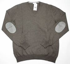 Mens COUNTRY CLUB Italy Brown Wool Elbow Patch V-Neck Jumper Sweater 48 S M NWT