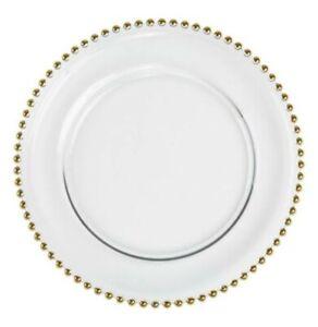 Glas-Platzteller Glas mit Gold Perlen Rand 33cm. 8 Stück Events Hochzeit