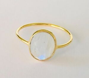 18K Gold Sterling Silver Rainbow Moonstone Ring Stack Gemstone Size US 5 6 78910