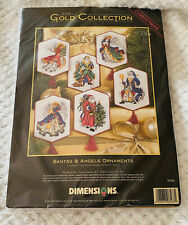 Vtg Dimensions Gold Collection Cross Stitch Christmas Santa Angels Ornaments New