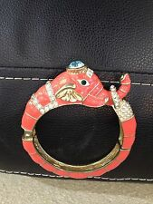 Elephant Animal Bracelet Gold Bangle Cuff Beautiful Enamel Design w/ Stones