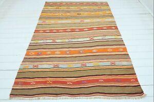 "Turkish Alara Kilim Rug, Striped Design Rug, Area Rugs, Carpet, Wool Rug 63""X91"""